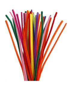 Chenille draad, L: 30 cm, dikte 6 mm, diverse kleuren, 50 div/ 1 doos