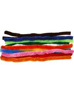 Chenille draad, L: 45 cm, dikte 25 mm, diverse kleuren, 60 div/ 1 doos
