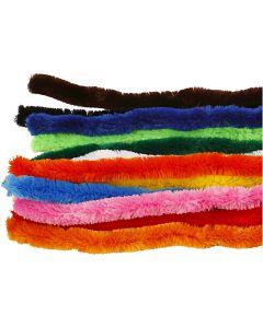 Chenilledraad, grote, L: 45 cm, dikte 25 mm, diverse kleuren, 60 div/ 1 doos