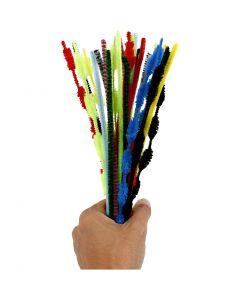Chenille, L: 30 cm, dikte 5-12 mm, diverse kleuren, 30 stuk/ 1 doos