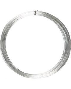Alu draad, rond, dikte 1 mm, zilver, 16 m/ 1 rol