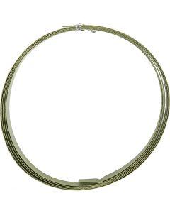 Alu draad, plat, B: 15 mm, dikte 0,5 mm, groen, 2 m/ 1 rol