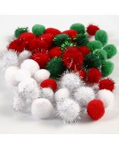 Pompoms, d: 15+20 mm, groen, rood, wit, 48 div/ 1 doos