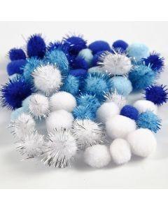 Pompoms, d: 15+20 mm, lichtblauw, donkerblauw, wit, 48 div/ 1 doos