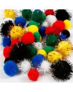 Pompoms, d: 15+20 mm, diverse kleuren, 48 div/ 1 doos