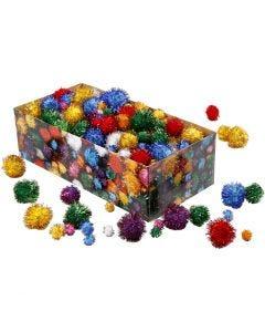 Pom-poms, d: 15-40 mm, glitter, sterke kleuren, 400 gr/ 1 doos