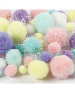Pompoms, d: 15-40 mm, glitter, pastelkleuren, 62 gr/ 1 doos