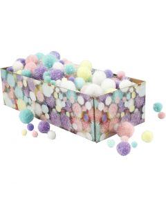 Pompoms, d: 15-40 mm, glitter, pastelkleuren, 400 gr/ 1 doos