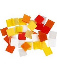 Mini mozaiek, afm 10x10 mm, rood/oranje harmonie, 25 gr/ 1 doos