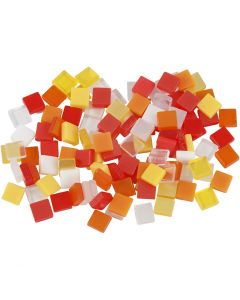 Mini mozaiek, afm 5x5 mm, rood/oranje harmonie, 25 gr/ 1 doos