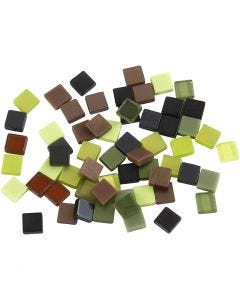 Mini mozaiek, afm 5x5 mm, groen glitter, 25 gr/ 1 doos