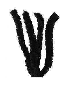 Chenille draad, L: 40 cm, dikte 30 mm, zwart, 4 stuk/ 1 doos