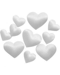 Satijnen harten, afm 10+20 mm, wit, 70 stuk/ 1 doos