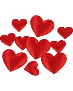 Satijnen harten, afm 10+20 mm, rood, 70 stuk/ 1 doos