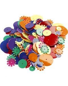 Pailletten, rond, afm 10-25 mm, diverse kleuren, 35 gr/ 1 doos
