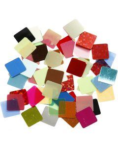 Folie mozaiektegels, afm 10x10 mm, diverse kleuren, 250 gr/ 1 doos