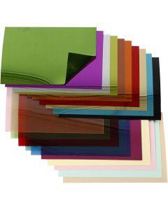 Pailletten folie, 15,8x11 cm, dikte 0,25 mm, 20 div vellen/ 1 doos