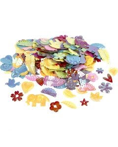Pailletten, afm 15-45 mm, parelmoer kleuren, 400 gr/ 1 doos