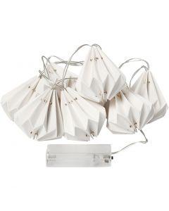 LED lichtslinger met lampenkapjes, H: 80 mm, L: 100 cm, d: 65 mm, wit, 1 stuk