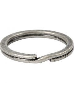 Sleutelring, d: 28 mm, antiek zilver, 50 stuk/ 1 doos
