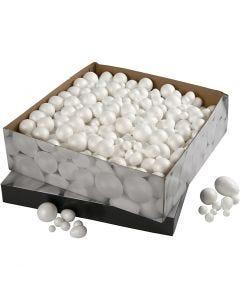 Ballen & Eieren, afm 1,5-6,1 cm, wit, 550 stuk/ 1 doos