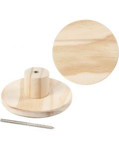 Kapstok, rond, d: 11 cm, 1 stuk