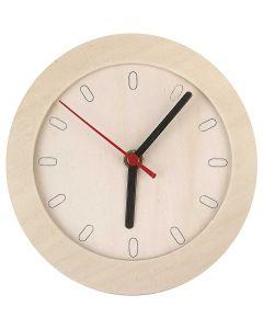 Klok met houten frame, d: 15 cm, 1 stuk