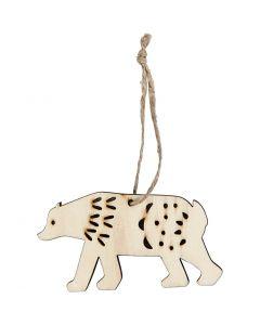 Ornament, ijsbeer, H: 4,5 cm, B: 7,5 cm, 4 stuk/ 1 doos