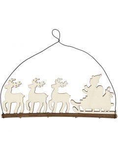 Kerstdecoratie, kerstman met rendier, H: 8 cm, B: 22 cm, 1 stuk