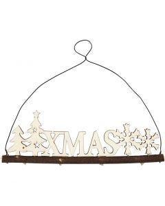 Kerstdecoratie, XMAS, H: 7 cm, B: 22 cm, 1 stuk