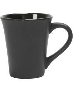 Mok, H: 10 cm, d: 5,9-8,7 cm, zwart, 1 stuk