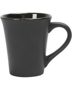 Mok, H: 10 cm, d: 5,9-8,7 cm, 300 ml, zwart, 12 stuk/ 1 karton