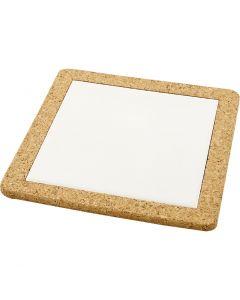 Onderzetter met lijst van kurk, afm 19x19 cm, wit, 10 stuk/ 1 karton