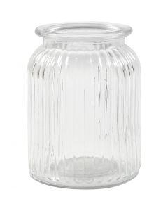 Glazen pot, H: 14,5 cm, d: 11 cm, gatgrootte 7 cm, 6 stuk/ 1 karton