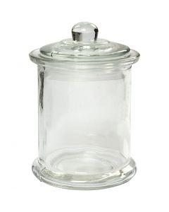 Pot met deksel, H: 14,5 cm, d: 8 cm, 10 stuk/ 1 karton