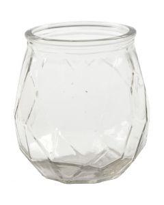 Glazen kandelaar, H: 10,5 cm, d: 9,5 cm, gatgrootte 7,3 cm, 6 stuk/ 1 karton