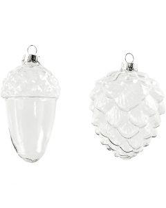 Glazen ornamenten, H: 9,5+10,5 cm, d: 5,5+7,5 cm, transparant, 4 stuk/ 1 doos