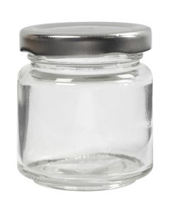 Glazen pot, H: 6,5 cm, d: 5,7 cm, 100 ml, transparant, 12 stuk/ 1 karton