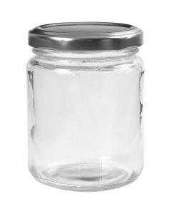 Glazen pot, H: 9,1 cm, d: 6,8 cm, 240 ml, transparant, 12 stuk/ 1 karton