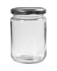 Glazen pot, H: 11 cm, d: 7,5 cm, 370 ml, transparant, 6 stuk/ 1 karton