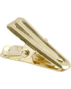 Deco knijpers, L: 27 mm, B: 14 mm, goud, 10 stuk/ 1 doos