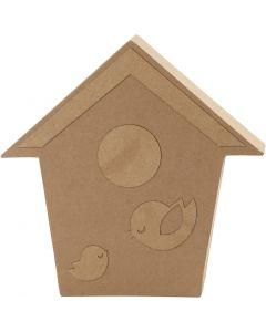 Vogelhuis, H: 18 cm, diepte 2,5 cm, 1 stuk