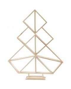 Geometrische kerstboom van hout, H: 60 cm, B: 47 cm, 1 stuk
