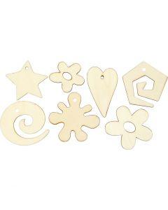 Houten decoraties, afm 30-55 mm, 46 stuk/ 1 doos