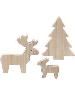 Rendieren met kerstboom, H: 6+12+15 cm, diepte 1,5 cm, 1 set