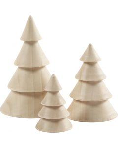 Kerstbomen van hout, H: 5+7,5+10 cm, d: 3,5+5,4+6,7 cm, 3 stuk/ 1 doos