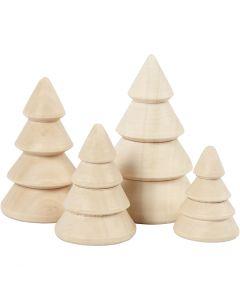 Kerstbomen van hout, H: 3,3+4,3+5,3+6,3 cm, d: 2,3+3+3,2+4 cm, 4 stuk/ 1 doos