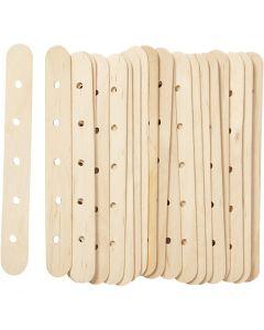 Constructiehoutjes, L: 15 cm, B: 1,8 cm, gatgrootte 4 mm, 20 stuk/ 1 doos