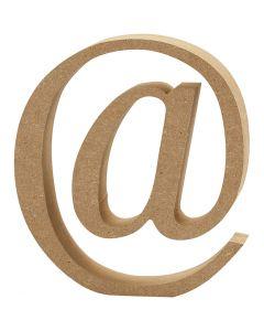 Symbool van MDF, @, H: 8 cm, dikte 1,5 cm, 1 stuk