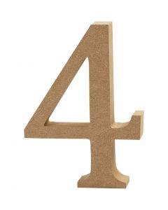 Cijfer, 4, H: 8 cm, dikte 1,5 cm, 1 stuk